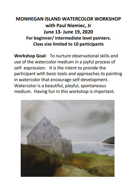 Flyer for Monhegan Island Watercolor Workshop