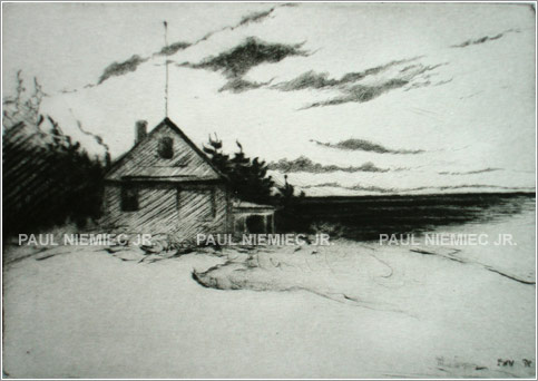 Wind Whipped etchings and dry points by Paul Niemiec Jr. Running Wind Studio